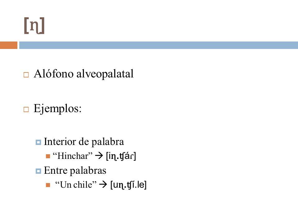 [ɳ] Alófono alveopalatal Ejemplos: Interior de palabra Entre palabras
